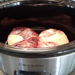 Place beef or lamb shanks to crock pot. Easy peasy.