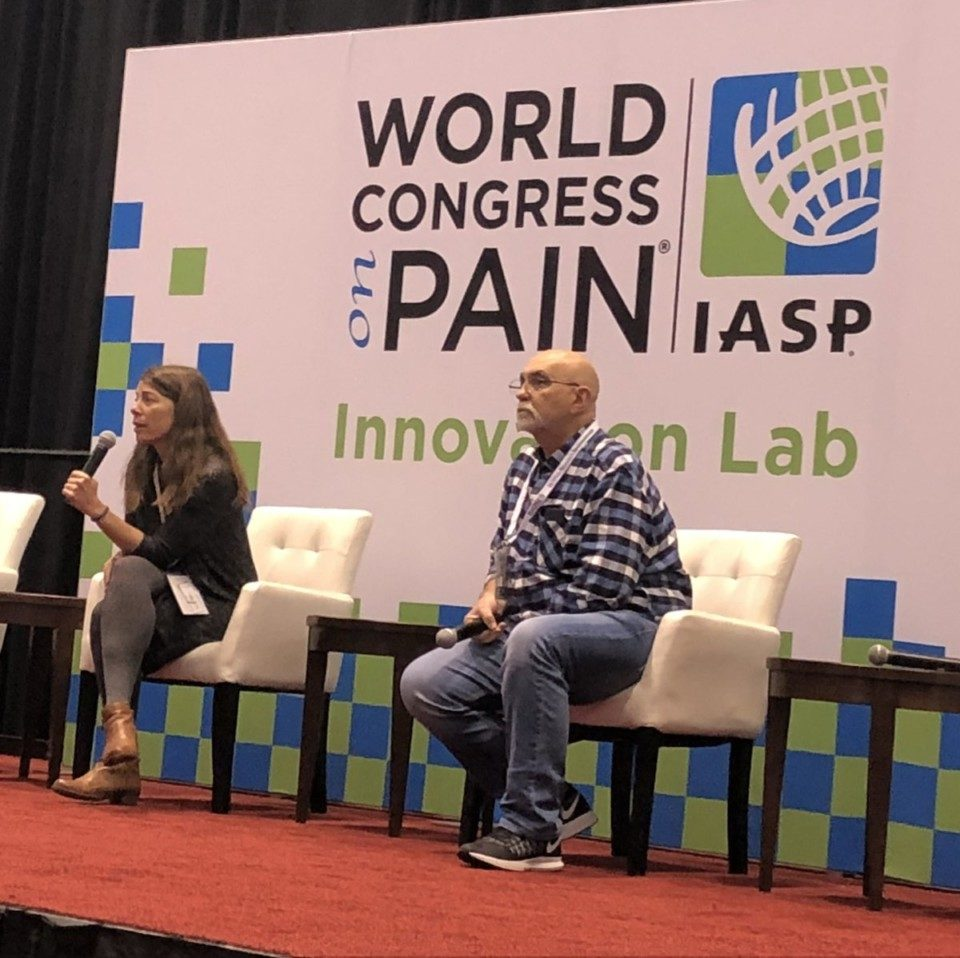 Me and Pete, telling our stories on the IASP World Congress Innovation Lab stage